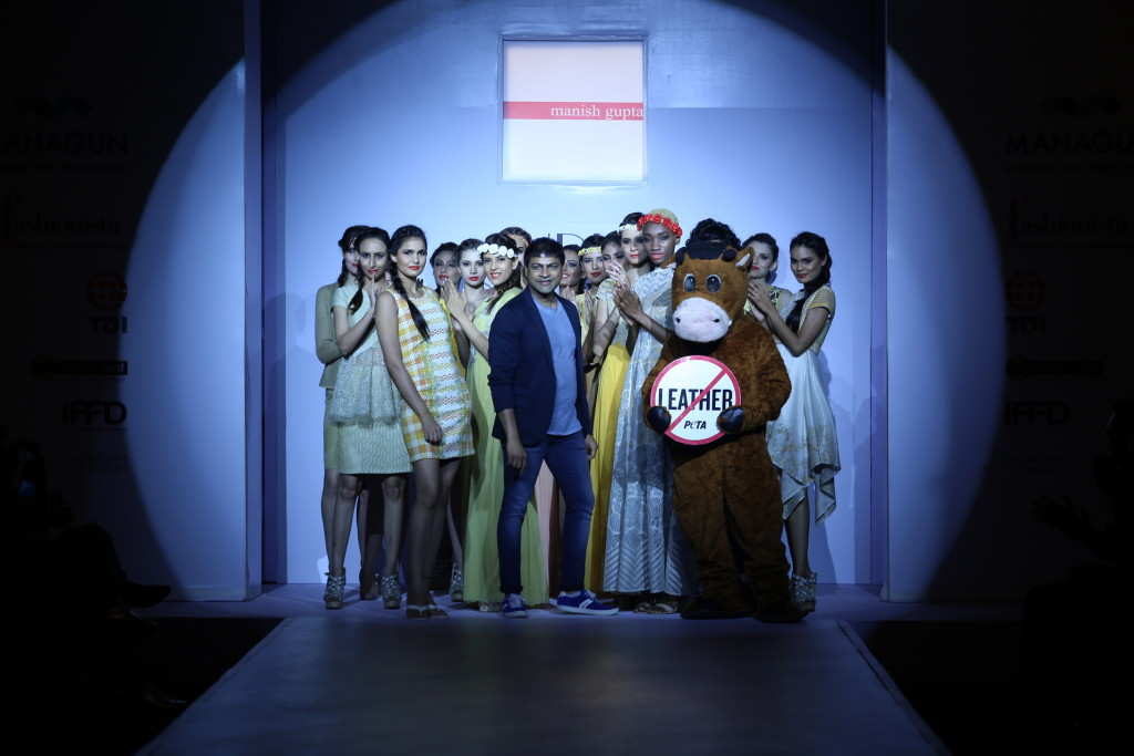 Manish Gupta with Designers and PETA Mascot during day 1 of India Runway Week