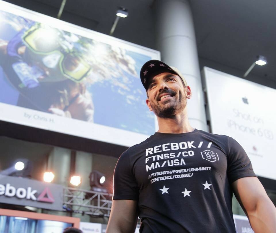 Reebok India Brand Ambassador John Abraham during an exclusive fitness masterclass organized by  Reebok India in association with Jabong..