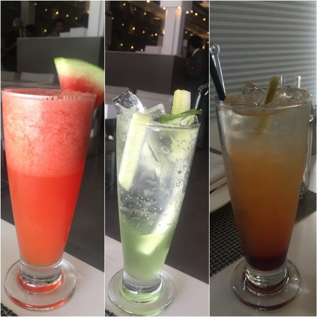 Tropical Infusion, Cucumber Cooler & Sublym Delight (L-R)