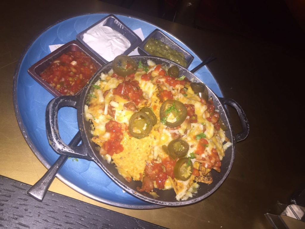 Nachos with Queso Sauce and Chunky Salsa