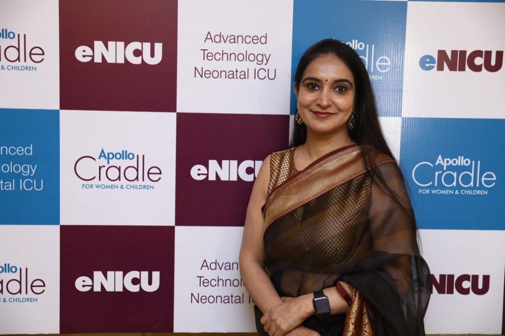 Dr. Avneet Kaur (Senior Consultant, Neonatology Department, Apollo Cradle Hospital) shared that the eNICU facility will assist in the quality care of the neonate and Apollo Cradle is proud to lead this technology initiative in India