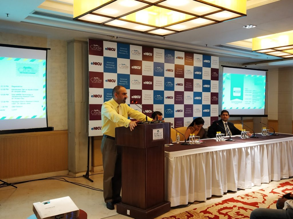 Industry leader Apollo Cradle launches eNICU for the first time in India. Dr. Anupam Sibal (Group Medical Director, Apollo Hospitals Group & Senior Consultant Pediatric Gastroenterologist and Hepatologist) presenting the key features of the eNICU facility at an event at New Delhi