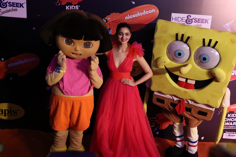 Alia looking cute as a button with Dora and Spongebob Squarepants